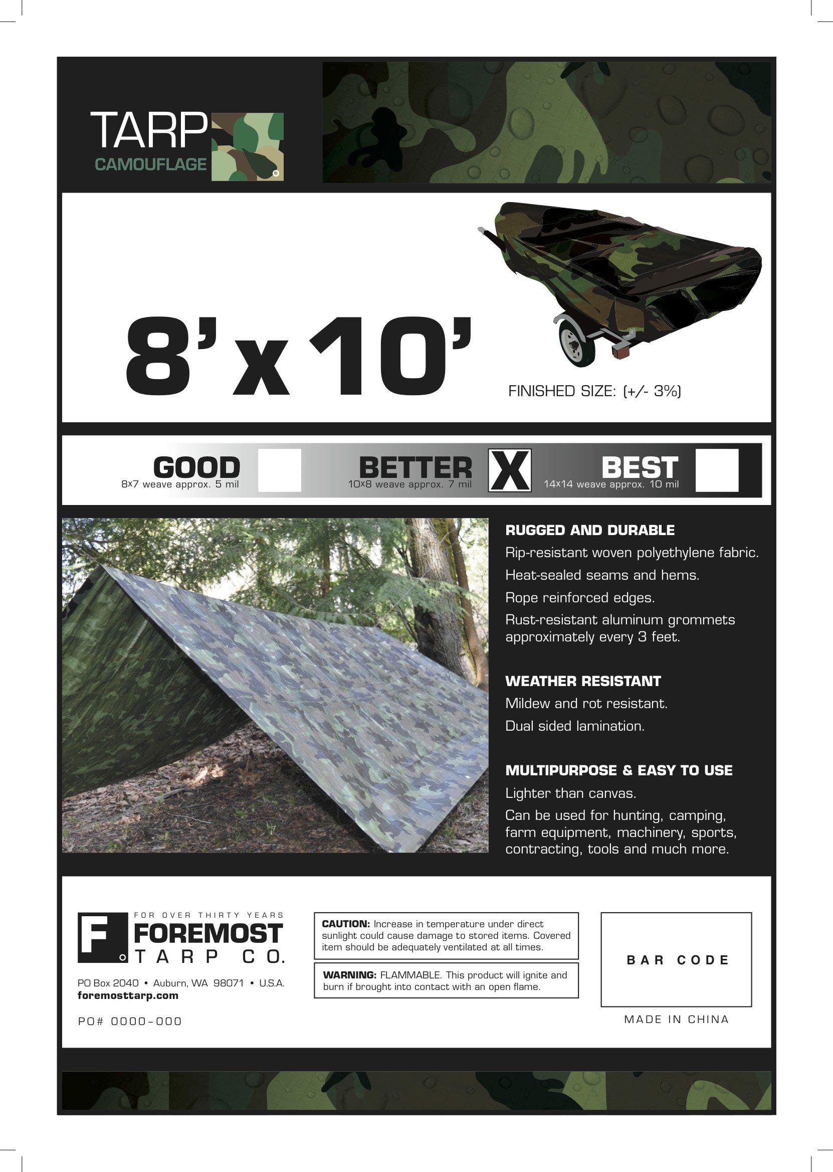 8' x 10' Dry Top Camouflage 7-mil Poly Tarp item #408102