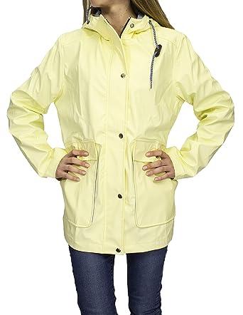a48adf125 FLIRTY WARDROBE Womens Rain Mac Waterproof Festival Jacket Ladies Anorak Hooded  Coats Raincoat x[Light Yellow,L]: Amazon.co.uk: Clothing