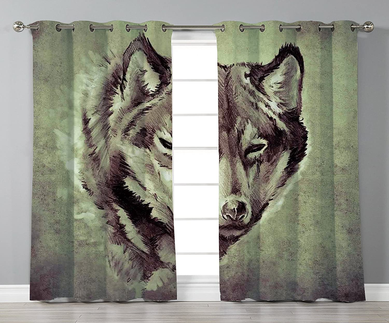 Cortinas elegantes para ventana, tatuaje, cabeza de lobo el ...