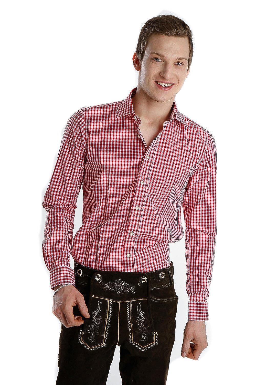 Almsach Trachtenhemd rot slim fit