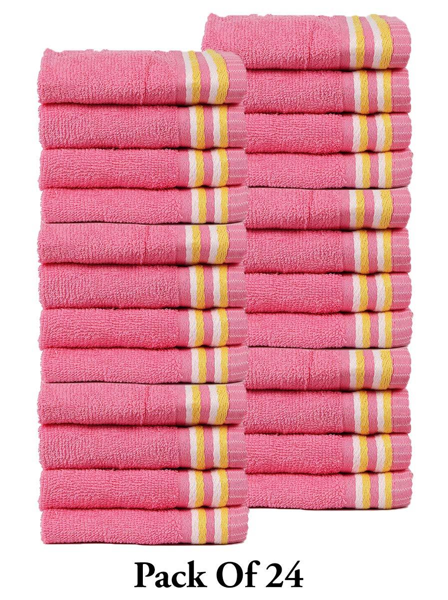 CASA COPENHAGEN Trident Candy Stripes 400 GSM Super Soft 24 Pack Baby Wash Cloth Burp Towels, Pink by CASA COPENHAGEN