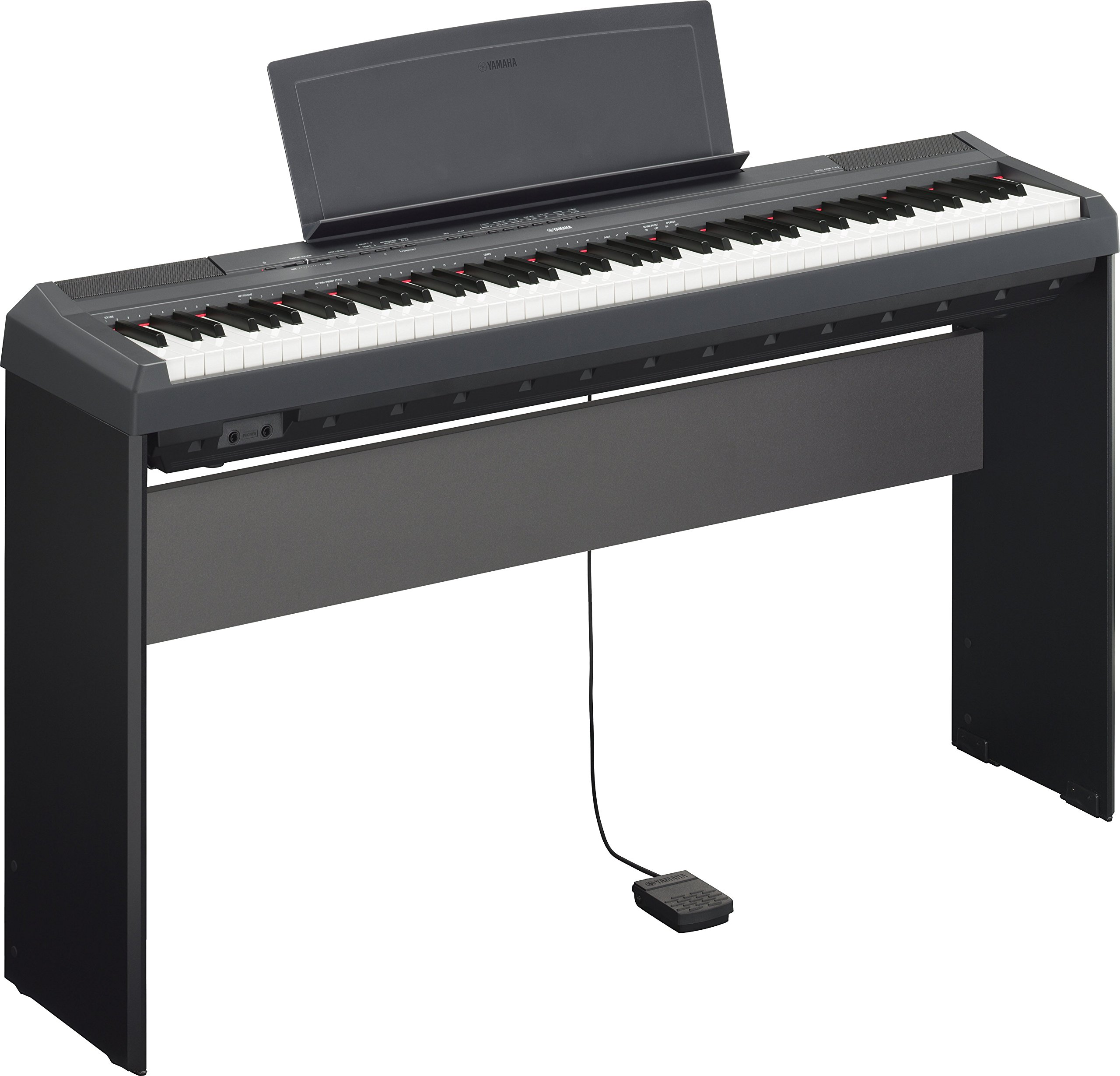 Yamaha P115B 88-Key (GHS) Contemporary Digital Keyboard Piano in Matt Finish Black (Includes Power Adapter, Footswitch Pedal and Music Rest) with Wooden Stand