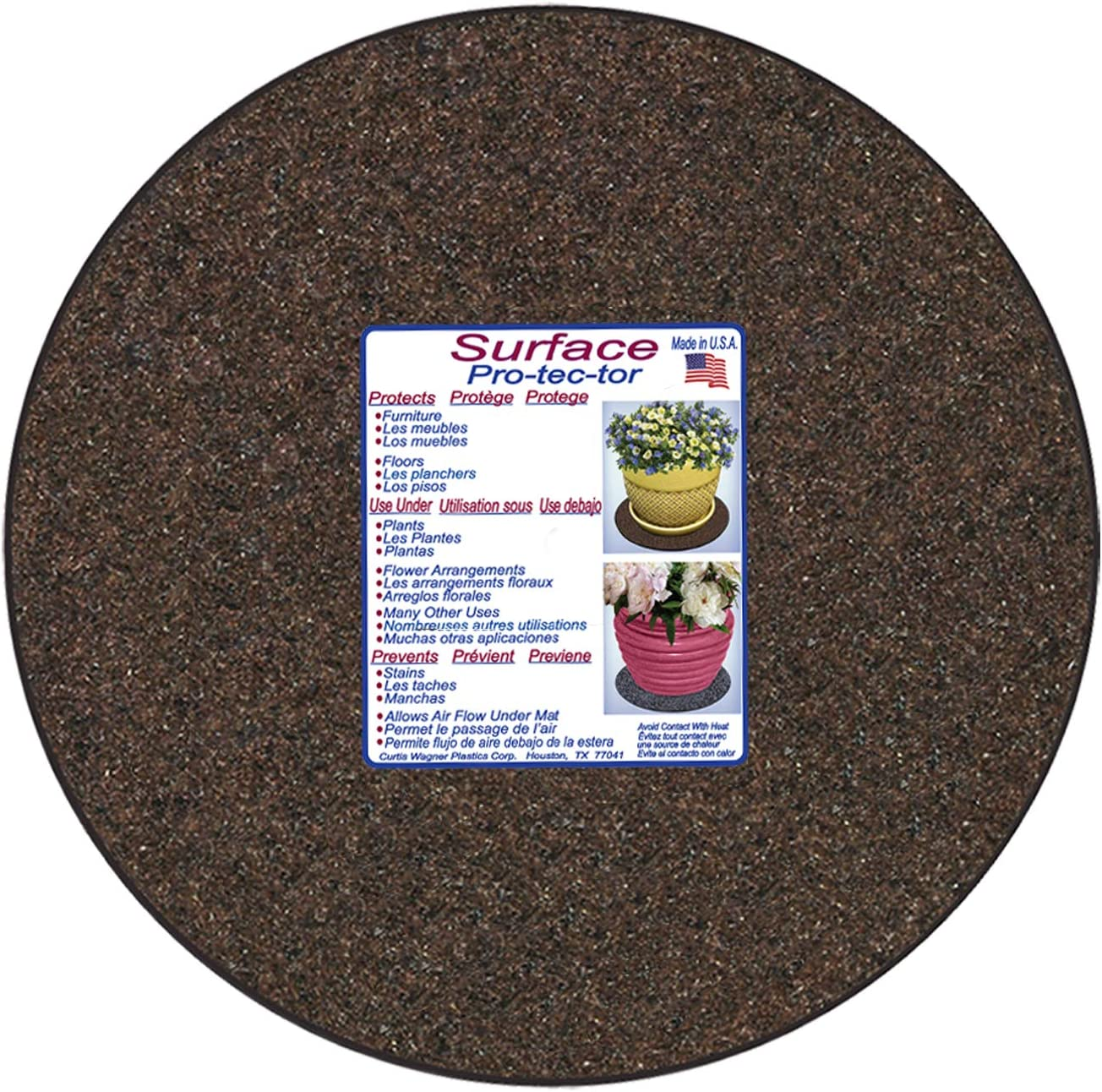 4 Diameter, Charcoal Gray, 5-Pack Use as Planter Coaster or Pads for Your Arts /& Crafts Curtis Wagner Plastics Fabric /& Cork Plant Mat - Round Thick Water Absorbent Cork Plant Coasters