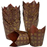 Cupcake Liners Tulip 100-Piece - Bulk Decorative Paper Cupcake and Muffin Baking Cups for Weddings, Birthdays, Baby Showers, Brown and Gold