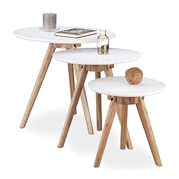 Relaxdays Beistelltisch 3er Set Tischbeine Aus Walnuss Holz Weiße