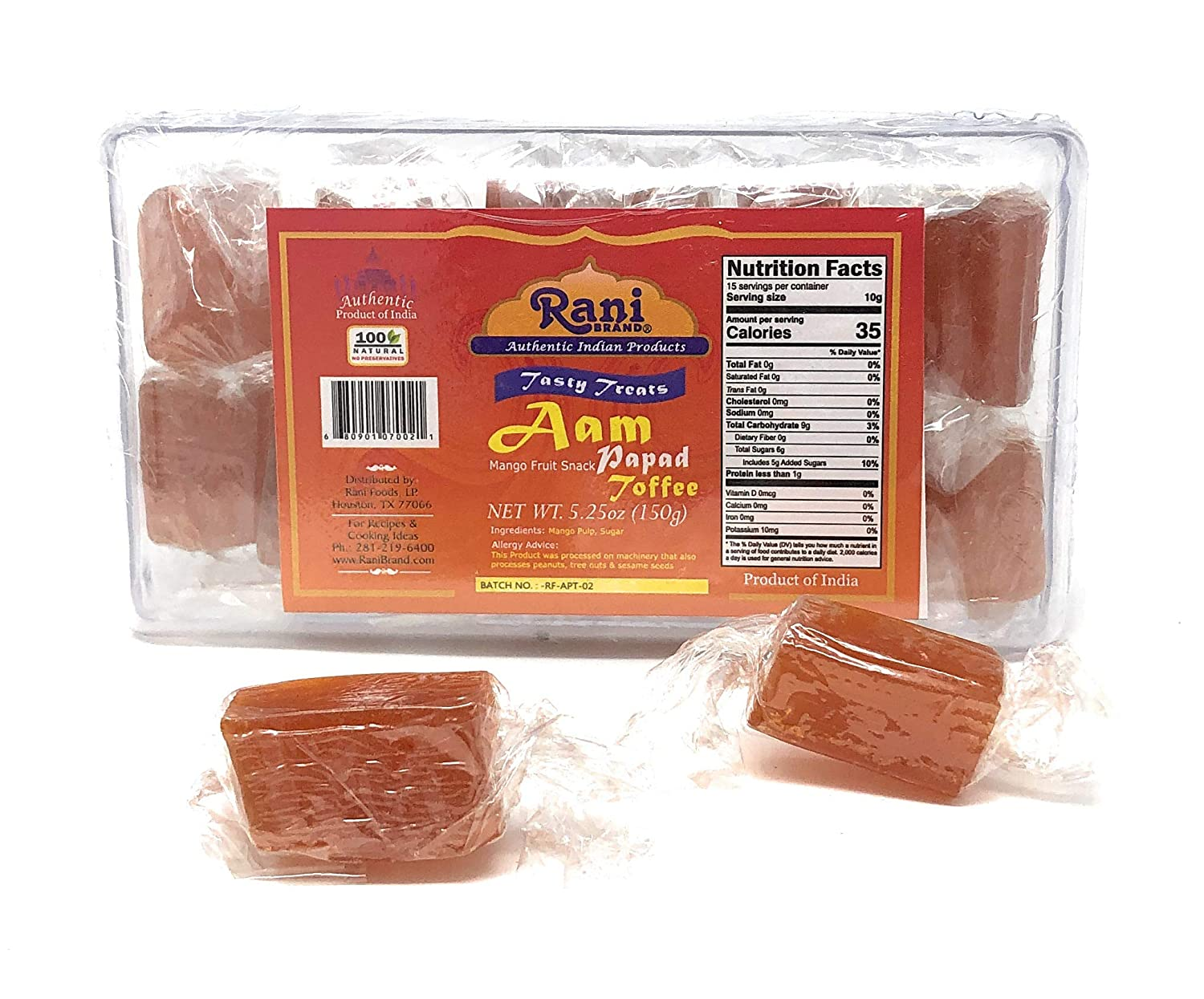 Rani Aam (Mango Fruit Snack) Toffee Candy Treat, 5.25oz (150g), Individually Wrapped in candy box, Indian Origin & Taste