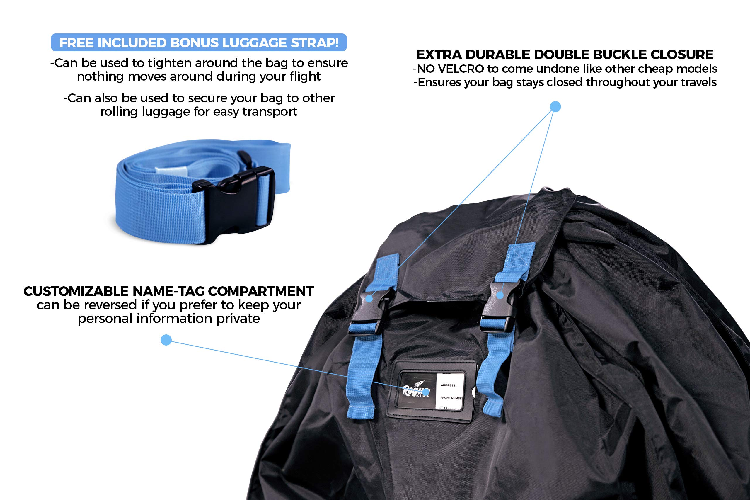 Rogue Kidz Single and Double Stroller Travel Bag For Airplane Gate Check - Durable Universal Large XL Cover With Padded Backpack Straps- Waterproof Heavy Duty Nylon Traveling Protector With Carry Case by Rogue Kidz (Image #5)