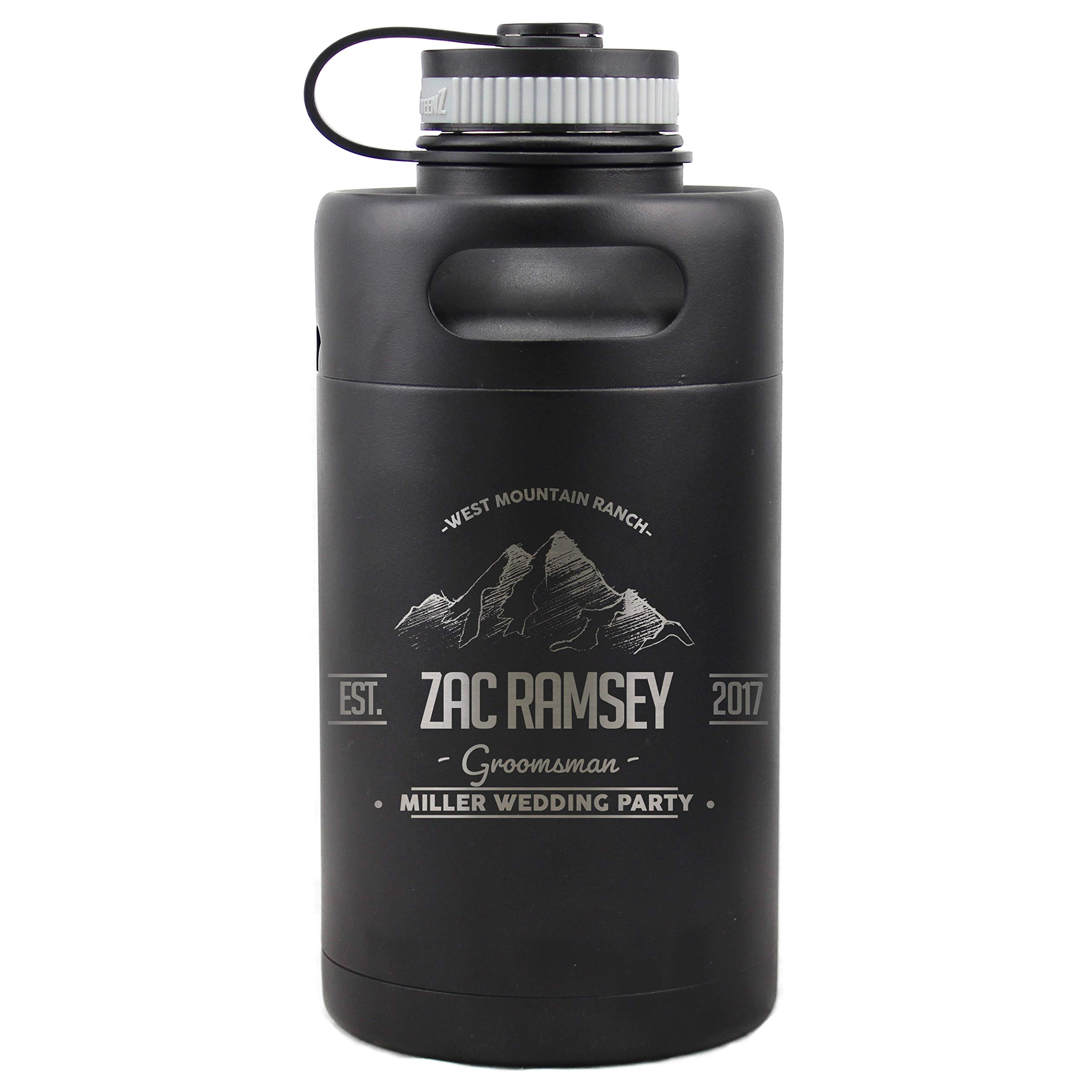 Personalized Etched Insulated Beer Growler 64oz Keg Groomsmen Gifts (Matte Black) (Ramsey Design)