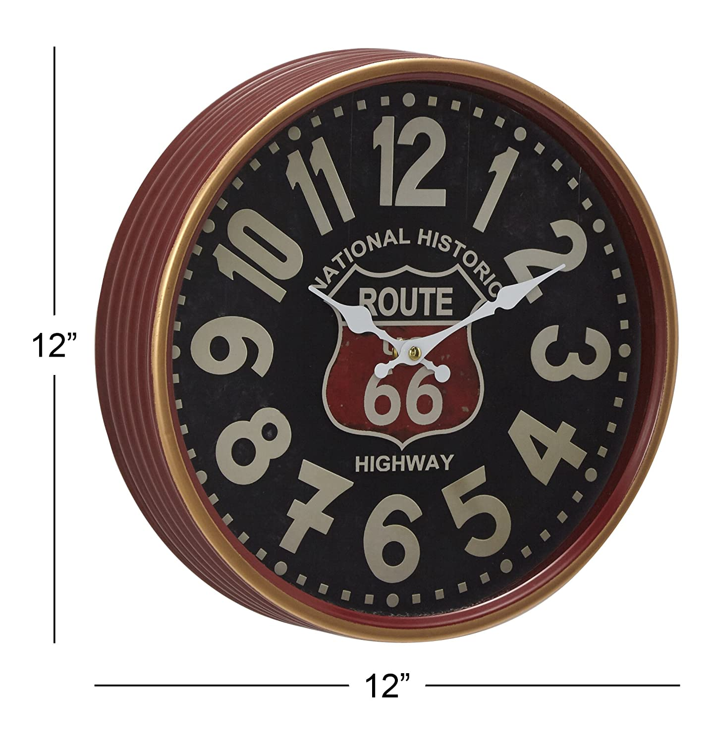 Deco 79 Contemporary 12 Round Iron Route 66 Wall Clock Black//Mahogany Brown//White//Red Uma Enterprises 52580