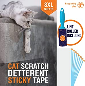 KatSupreme Cat Scratch Deterrent Tape - Furniture Protector, Clear Double Sided Anti Cat Scratch Training Tapes, Couch Protector, Residue Free - 8XL Sheets of 12x17 inches (Pre Cut)