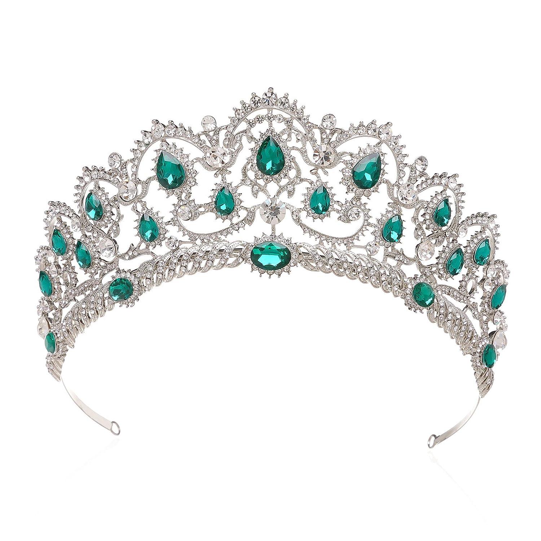 SWEETV Couronne de Mariage pour Femme - Diadè me de Princesse en Strass, Couronne de Reine Accessoires Cheveux, Bleu