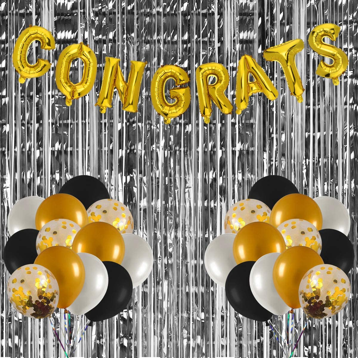 Graduation Party Decorations Supplies 2020 – 16 Inch Gold Congrats Foil Balloons,Black White Gold Confetti Balloons,Sliver Metallic Fringe Curtains - Great for Graduation Decorations, Wedding Engagement Bachelorette Bridal Baby Shower Party Supplies