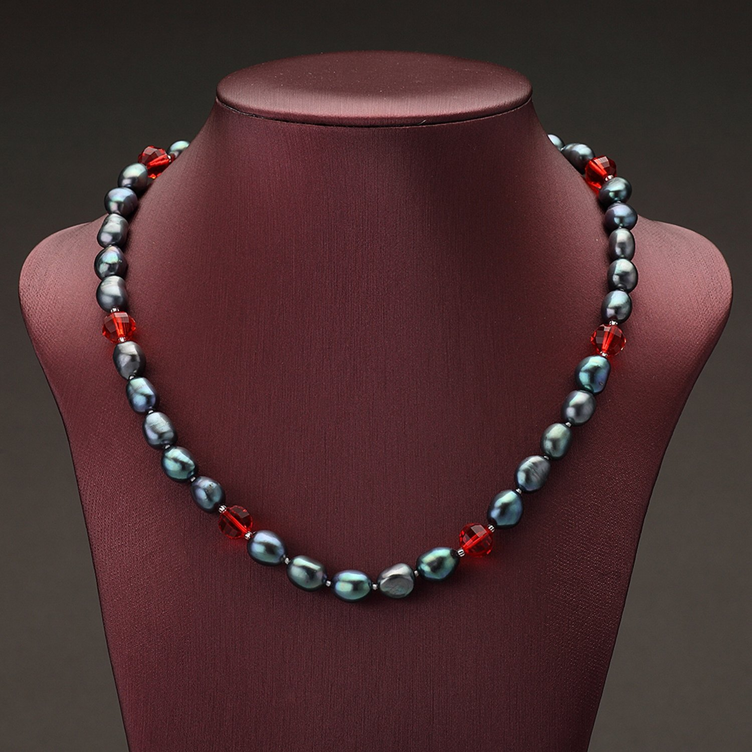 MMC Red Crystal Pearl Silver Pendants Necklaces