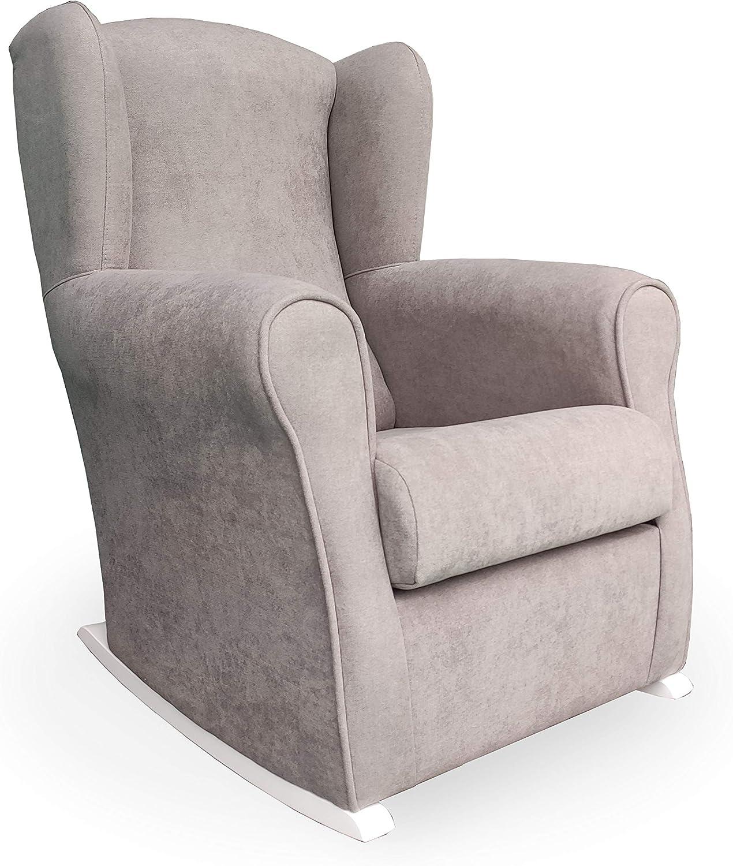 Mecedora- Tela Antimanchas (Acualine). Medidas: 96 * 74 * 78 cm. Ideal para amantar y balancear al bebe para dormirlo.… (gris)