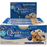 Quest Nutrition Protein Bar, Blueberry Muffin, 21g Protein, 5g Net Carbs, 190 Cals, Low Carb, Gluten Free, Soy Free, 2.12oz Bar, 12 Count