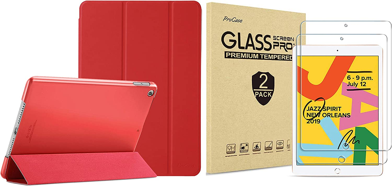 ProCase iPad 10.2 Case 2019 iPad 7th Generation Case (Red) Bundle with 2 Pack iPad 10.2 7th Gen Tempered Glass Screen Protector