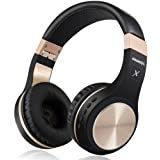 Bluetooth Headphones, Riwbox XBT-80 Folding Stereo Wireless Bluetooth Headphones Over Ear with Microphone and Volume Control, Wireless and Wired Headset for PC/Cell Phones/TV/Ipad (Black Gold) (Color: Black Gold)