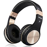 Bluetooth-Kopfhörer, Rriwbox XBT-80 Faltbare, kabellose Stereo-Kopfhörer Over-Ear mit Mikrofon und Lautstärkeregelung, mit und ohne Kabel, für PC/Handys/TV/iPad (Schwarz&Gold)