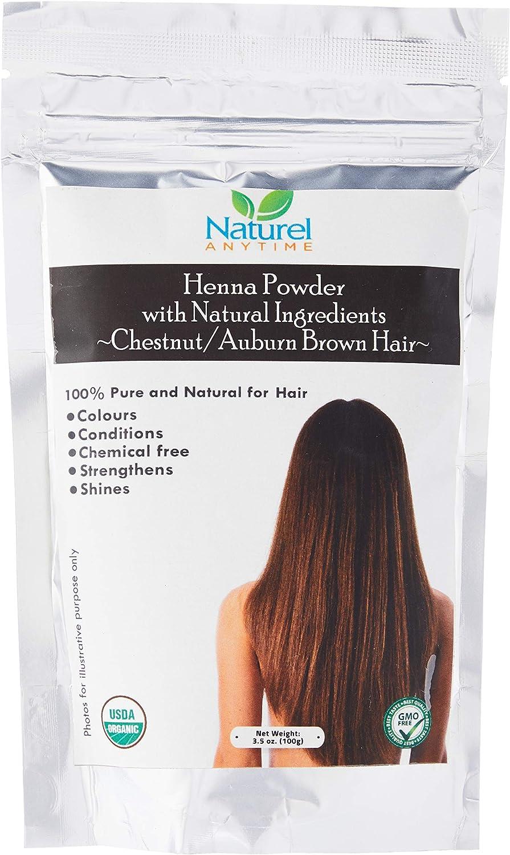 Organic (USDA, GMP) Henna for Chestnut/AUBURN/Reddish Brown Colour Hair, healthier, softer hair (Recipe provided) for temp tattoos and eyebrows, ...