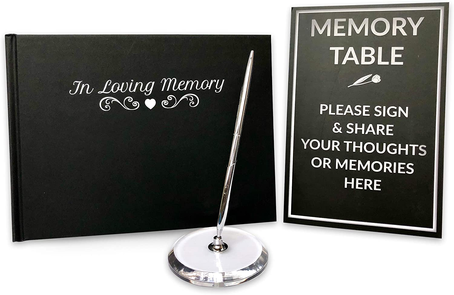 Funeral Guest Book | Memorial Guest Book | Black Guest Book Hardcover for Funeral | Guestbook for Sign In, Condolence | In Loving Memory in Silver Foil | Silver Pen and Memory Table Card Sign Included