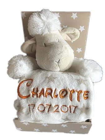 Babydecke beige Hund mit Namen bestickt Baby Decke Taufe Geburt Geschenk Name