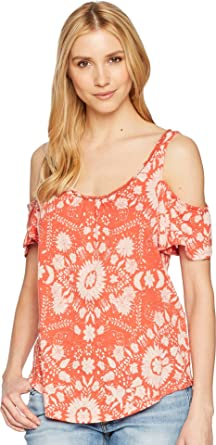 0a5cd8e0efdc2f Lucky Brand Women s Floral Cold Shoulder Top Rust Multi X-Large at ...