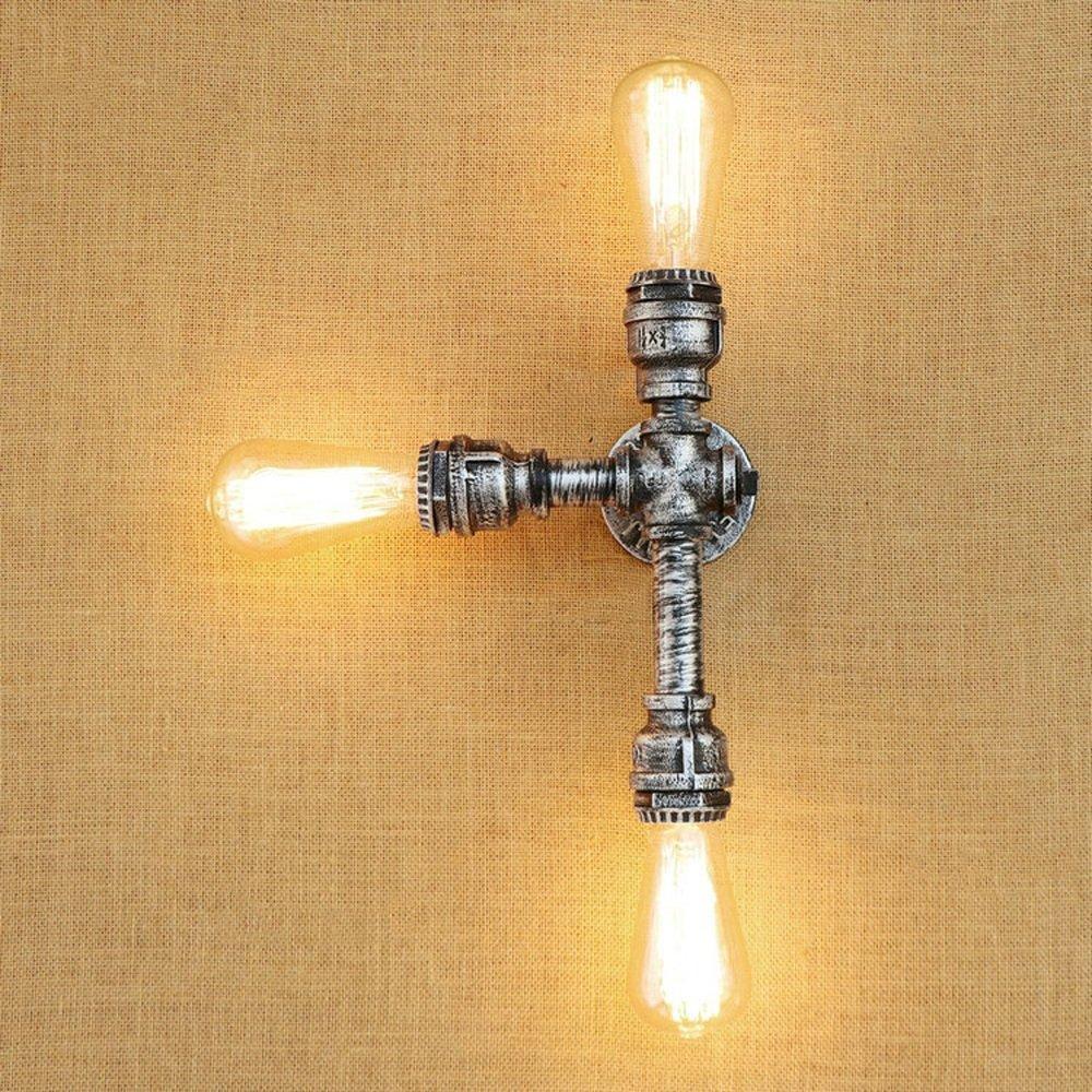 IBalody Vintage Chrome Wasserpfeife E27 3-Lights Wandleuchten Amerikanische Retro Industrielle Metall Eisen Wandleuchten Bar Cafe Restaurant Eingang Gang Haus Villa Beleuchtung Wandleuchte