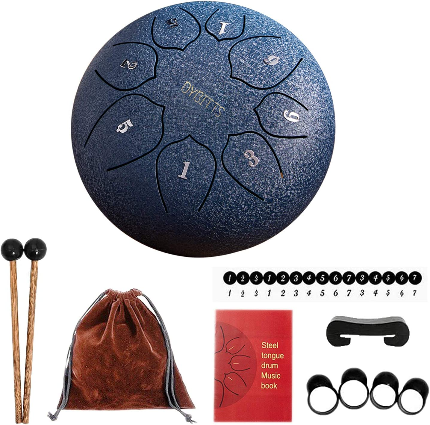Finger Cover DYBITTS Hand Pan Drum 6 inches 8 Tone Hang with Drumsticks Steel Tongue Drum Bag Tank Drum Percussion Instrument for Musical Education Concert Mind Healing Yoga Meditation