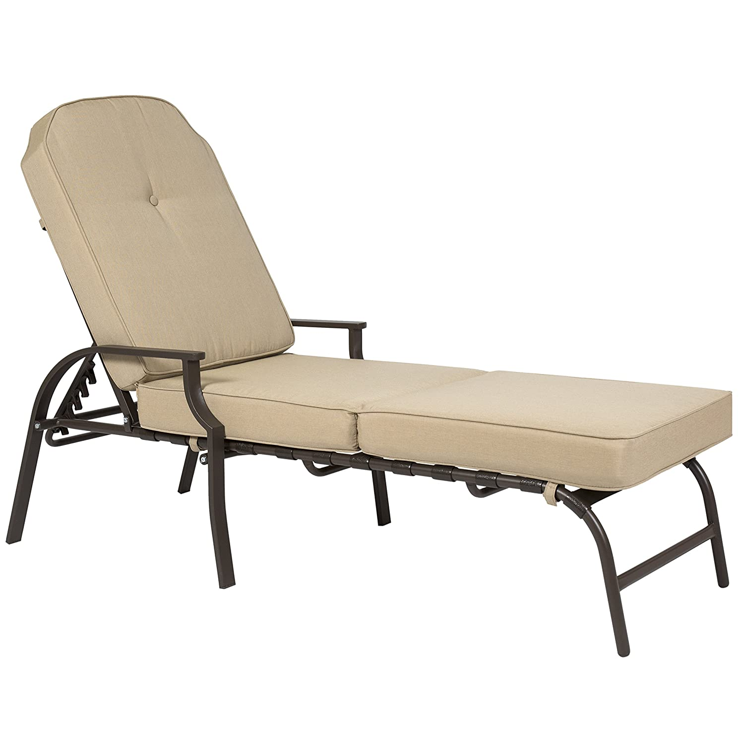 Amazon.com : Best Choice Products Outdoor Chaise Lounge Chair W/ Cushion  Pool Patio Furniture Beige : Garden U0026 Outdoor
