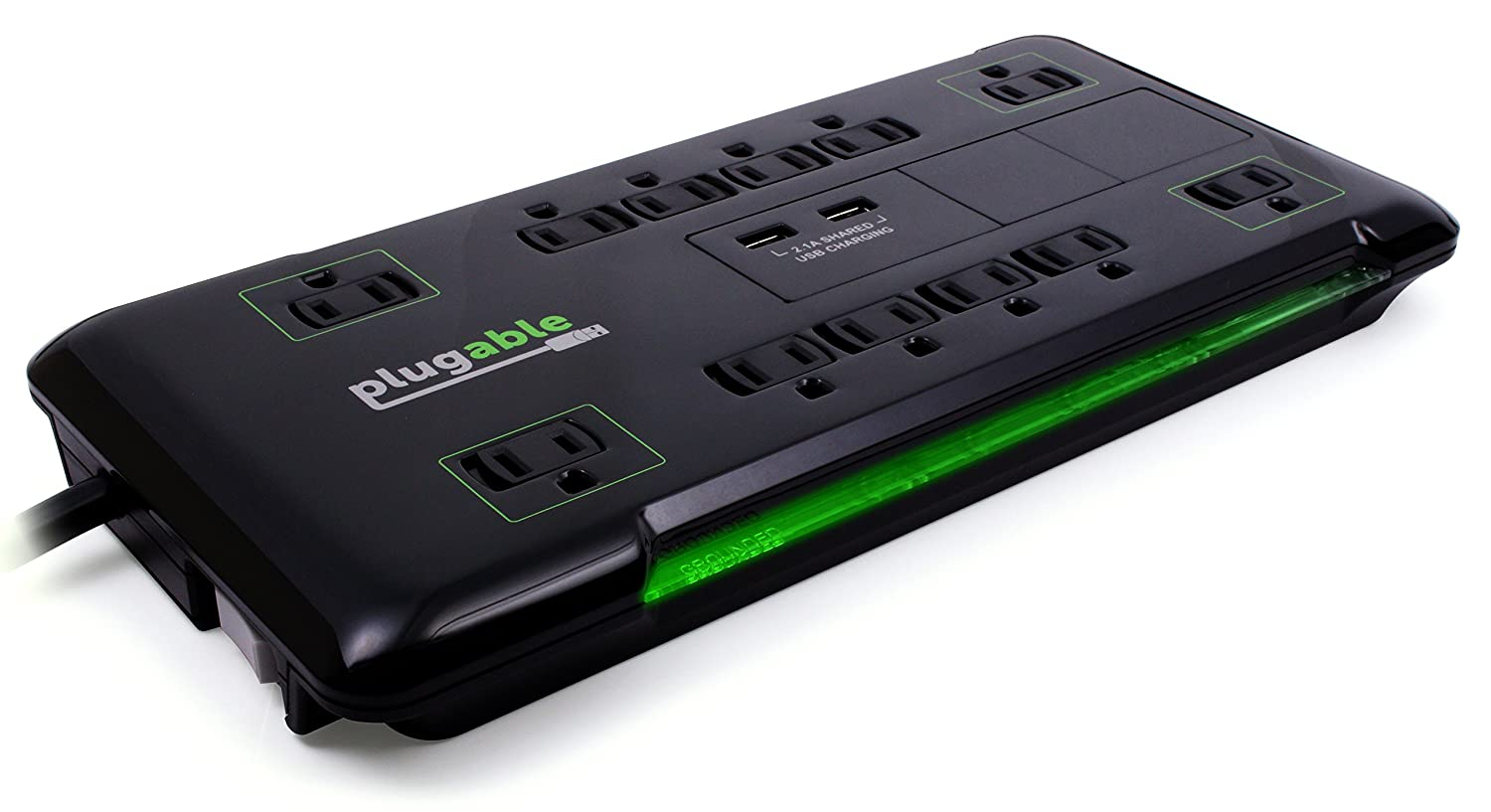 Plugable 12 AC Outlet Surge Protector - 25 Foot Power Cord with 2 Built-in USB Ports (10.5W USB Total) (Black)