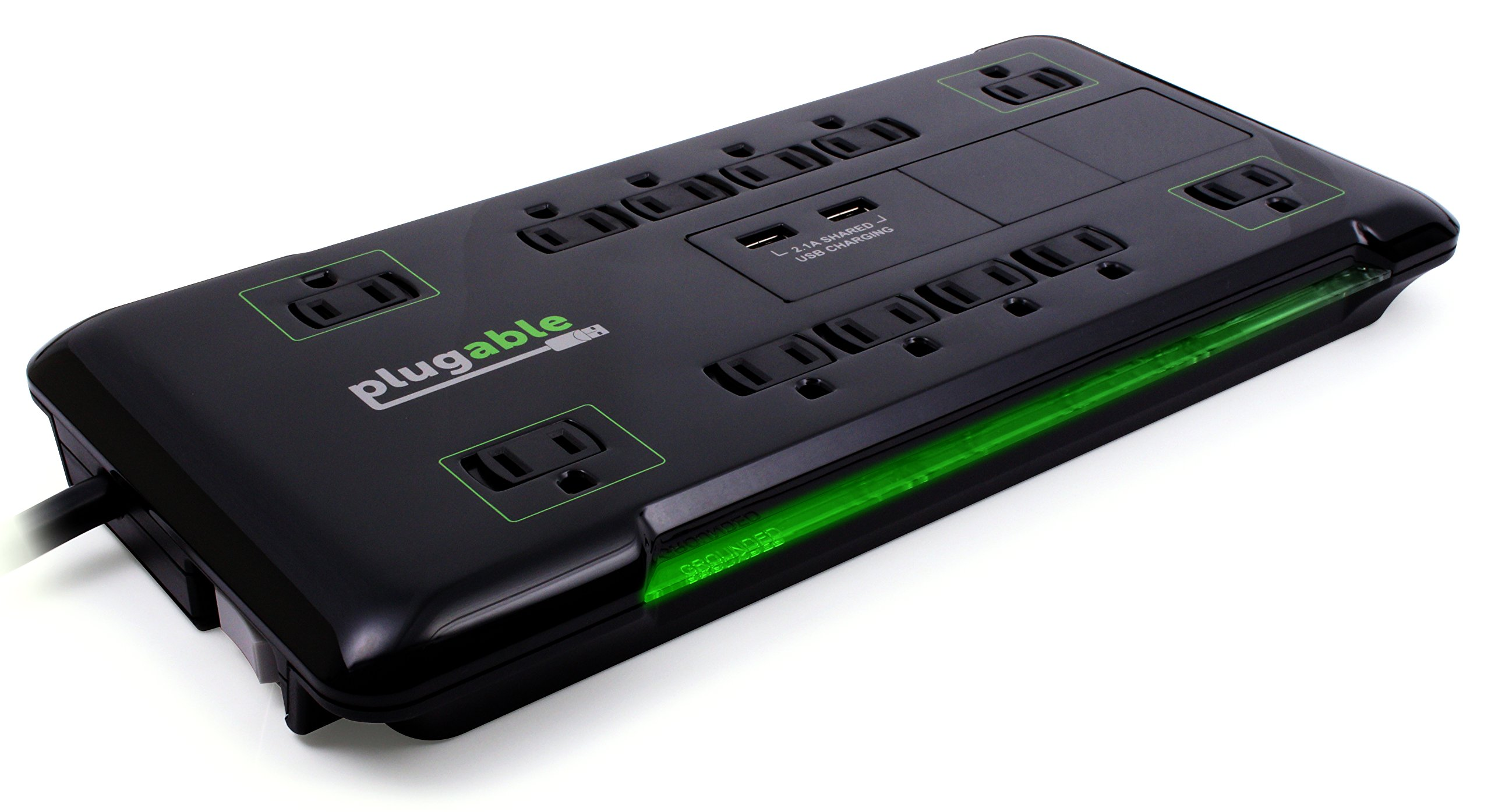 Plugable 12 AC Outlet Surge Protector - 25 foot power cord (Black) by Plugable