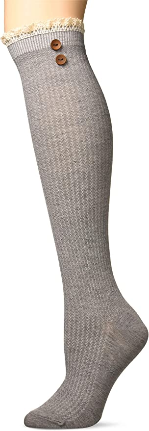 Britts Knits Boot Socks Ribbed with Lace One Size Brown