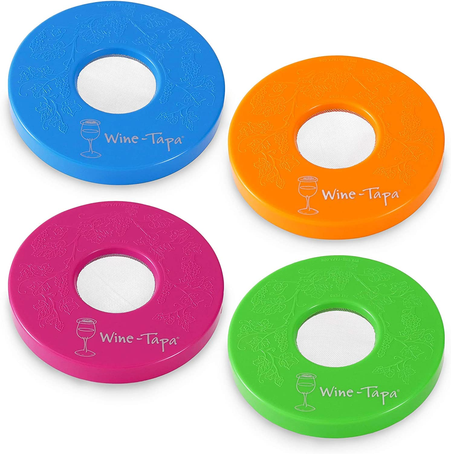"""Original Wine-Tapa Wine Glass Covers Set of 4. Keeps Aroma & Flavor In. Keeps Out Bugs & Leaves. Fits Any Glass with 2-4"""" Rim. Popular Hot Pink, Sky Blue, Lime Green, Tangerine"""