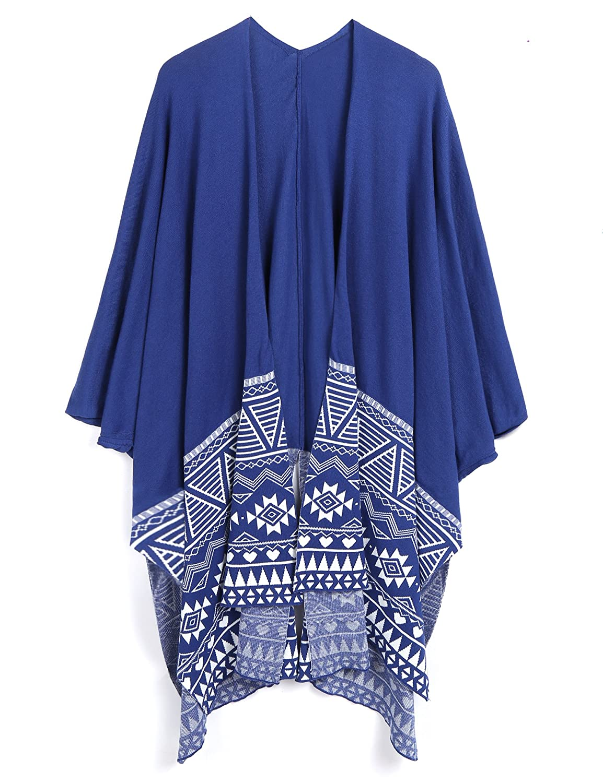 Coofandy Men's Hip Hop African Patterns Shawl Wrap Long Poncho Cape Cardigans ETJ006913_BL_XXL