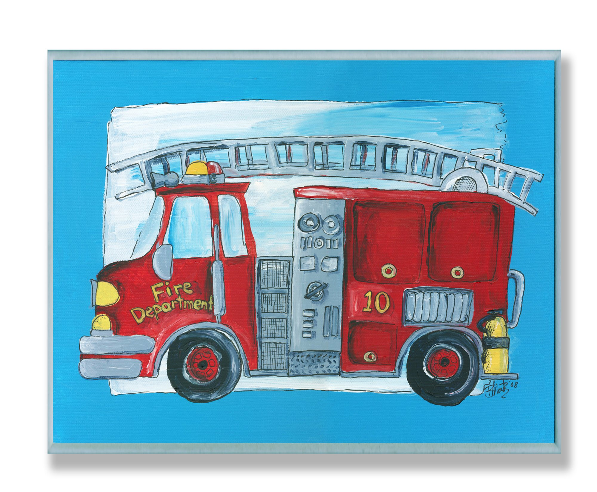 The Kids Room by Stupell Fire Truck with Blue Border Rectangle Wall Plaque by The Kids Room by Stupell