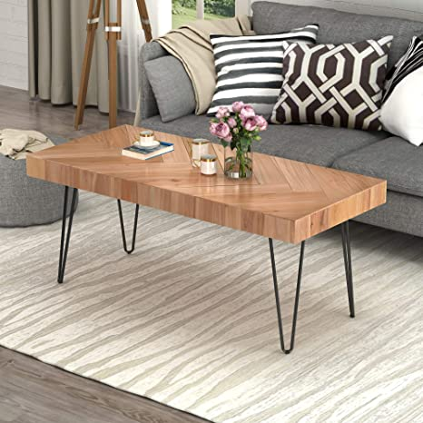 Amazon Com Modern Wood Coffee Table Nature Cocktail Table For Living Room Chevron Pattern Metal Hairpin Legs Nature Rustic Rectangular Table Glossy Finished Oak Kitchen Dining