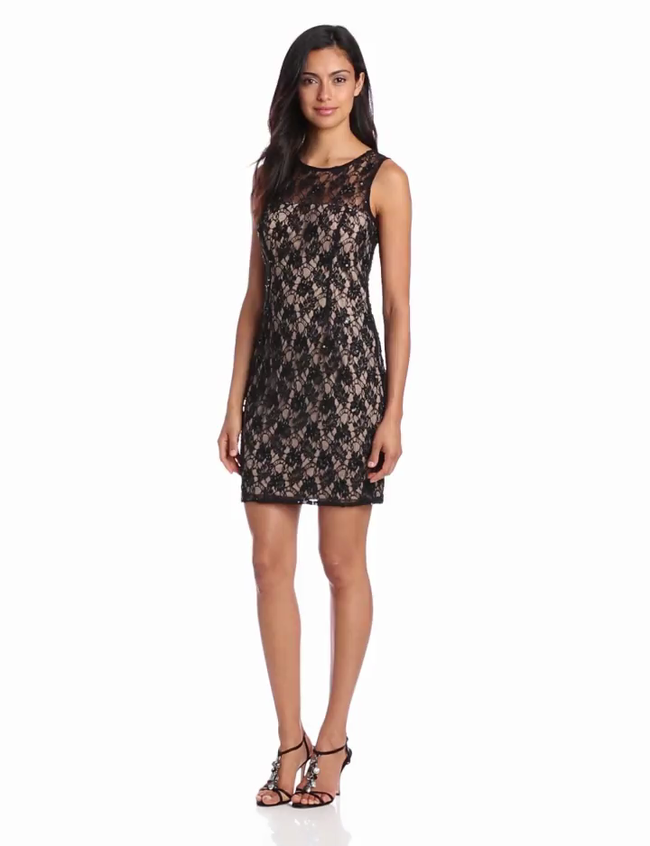 Adrianna Papell Womens Lace Dress with Sheer Back, Champagne/Black, 4
