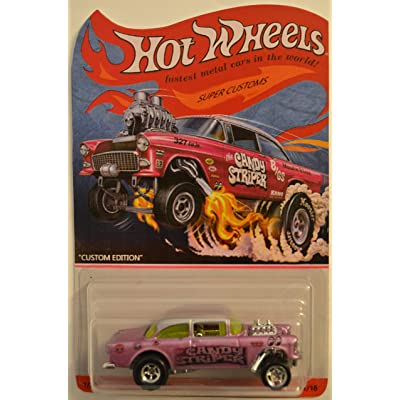 Hot Wheels Compatible 55 Chevy Bel Air Gasser Purple Custom-Made Real Rider Rubber Wheels Custom Edition Candy Striper Series 1:64 Scale Collectible Die Cast Model Car: Toys & Games