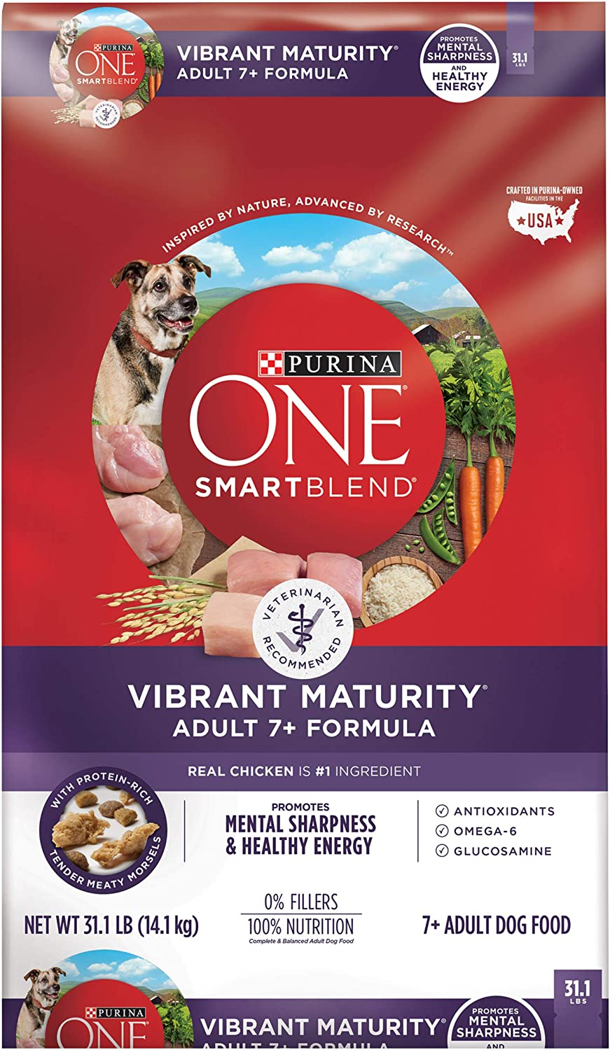 6. Purina ONE SmartBlend Vibrant Maturity 7+ Adult Formula