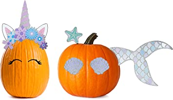 Halloween Pumpkin Accessories.Buy Decorae Halloween Pumpkin Kit Sets Unicorn And Mermaid Theme 13 Reusable Metal Accessories For Halloween Fall Pumpkin Face Decorating Online At Low Prices In India Amazon In