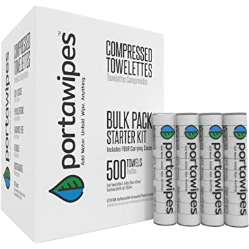 best selling Portawipes Compressed Toilet Paper Tablet Coin Tissues - 500 Bulk Starter Pack with 4 Carrying Cases