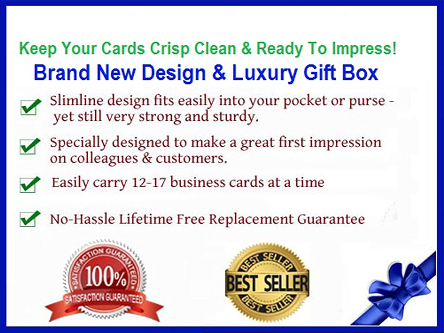 Leather Business Card Holder & FREE Gift Box (Rich Ebony Black ...
