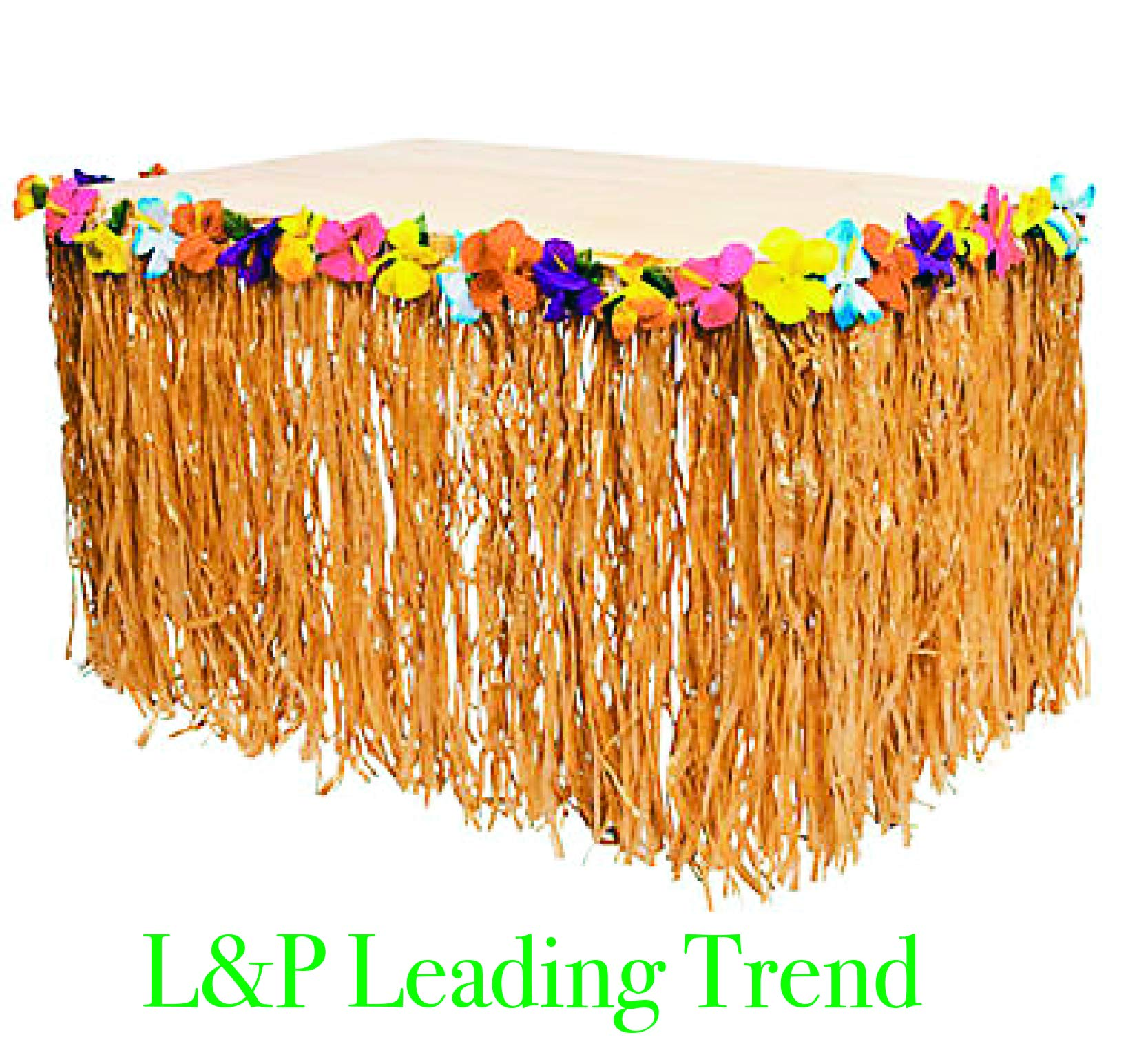Charmed Natural Color Luau Grass and Hibiscus Flower Table Skirt 9 Feet x 29'' (1) by Charmed