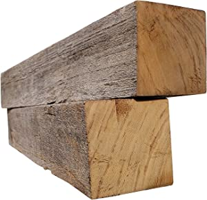 Rustic Weathered Reclaimed Wood Beam for DIY Crafts, Projects and Decor (4x4x24 Beam)