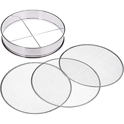 "Tikusan Stainless Steel Soil Sieve 3 Interchangeable Sieves with Varying Mesh Sizes Grade Bonsai Gardening Japan Import (14.6""(37cm)) : Garden & Outdoor"