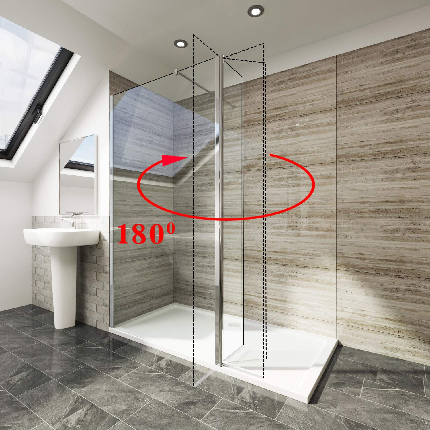 Elegant 1000mm Walk in Shower Screen 6mm Tougheded Safety Wet Room with 300mm Flipper Panel,1700x800mm Stone Tray Included
