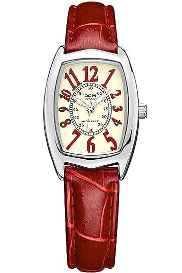 findtime Mujer Reloj Rojo Piel Reloj de pulsera rectangular para mujer reloj de pulsera vintage moderno