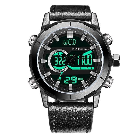 selección premium a50f6 99ae0 Menton Ezil Reloj Hombre Dijital Deportivo de Pulsera Multifuncional LED  Cronómetro Doble Horario Alarma Resistente al Agua Impermeable Negro