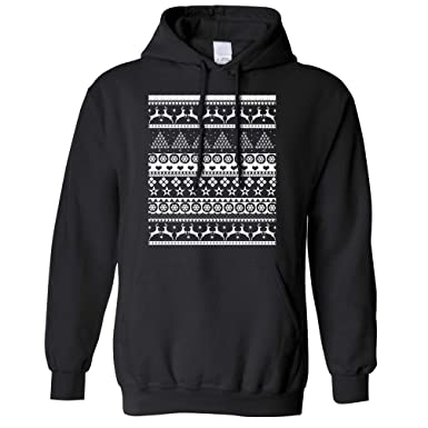 85dddce47439 Christmas Unisex Hoodie Traditional Xmas Jumper Ugly Sweater Pattern Merry  Festive Season Jolly Holly Santa Cool Funny Gift Present  Amazon.co.uk   Clothing