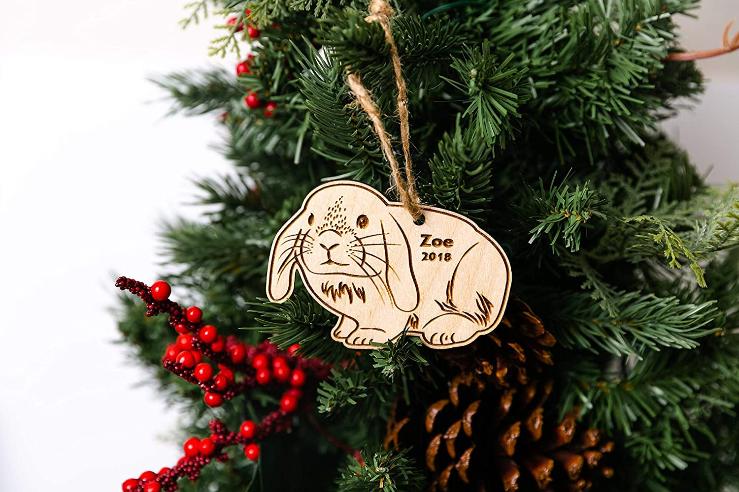 Personalized Bunny Christmas Ornament Name Date